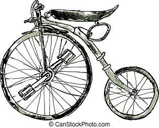 Painted Bicycle - Watercolor painting of a vintage bicycle,...