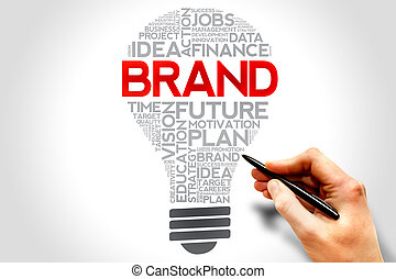 BRAND bulb word cloud, business concept