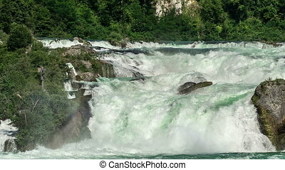 Rhine Falls in Switzerland, biggest waterfall in Europe