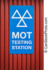 MOT Testing Station Sign - A Motor Ordinance Test MOT...