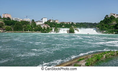 Rhine Falls in Switzerland pan - Rhine Falls in Switzerland...