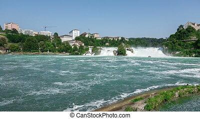 Rhine Falls in Switzerland pan - Rhine Falls in Switzerland...