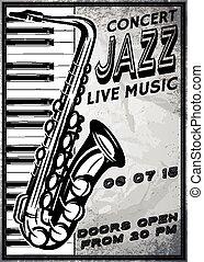 retro poster with saxophone and piano for jazz festival -...