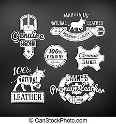 Set of leather quality goods vector designs. Vintage belt logo, retro labels. genuine illustration on dark background