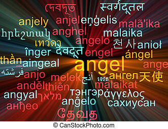 Angel multilanguage wordcloud background concept glowing -...