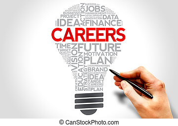 CAREERS bulb word cloud, business concept