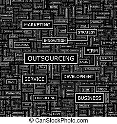 OUTSOURCING. Seamless pattern. Word cloud illustration.