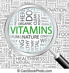 VITAMINS. Word cloud concept illustration. Wordcloud...