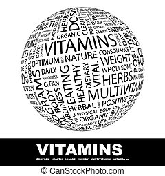 VITAMINS. Word cloud illustration. Tag cloud concept...