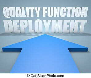Quality Function Deployment - 3d render concept of blue...