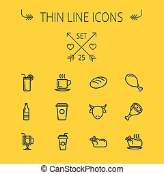 Food thin line icon set - Food and drink thin line icon set...