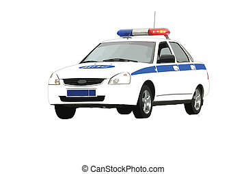 Russian police car - Illustration of a Russian police car on...
