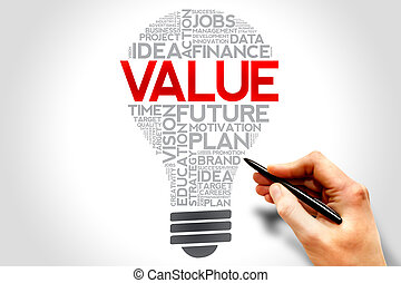 VALUE bulb word cloud, business concept