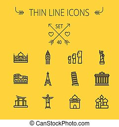 Travel thin line icon set for web and mobile Set includes-...