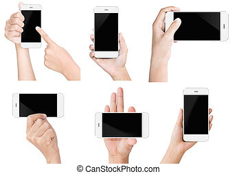hand hold white modern smart phone show screen display...