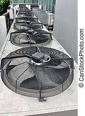 Residential air conditioner compressor units - Row of...
