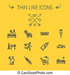 Medicine thin line icon set for web and mobile. Set...