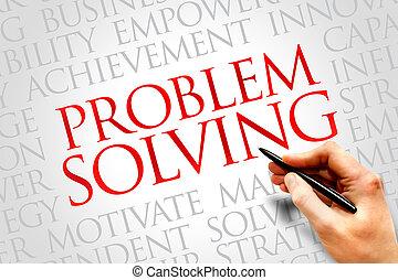 Problem solving word cloud, business concept