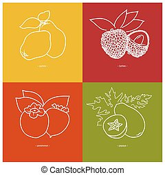Quince, Lichee, Persimmon, Papaya - Icon Quince, Lichee,...