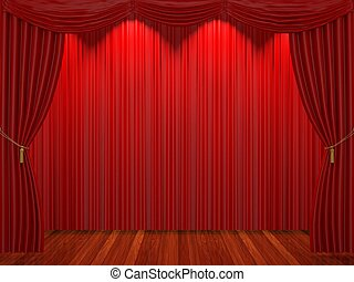 Stage with red curtains and spotlight