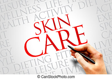 Skin care word cloud, health concept