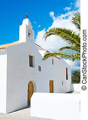 Sant Francesc des Estany Church, in Ibiza Island, Spain - a...