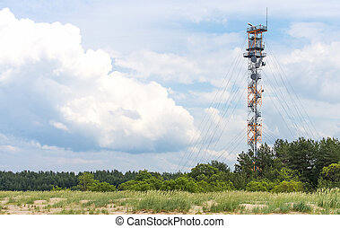 Military watch tower near border of Estonia and Russia.