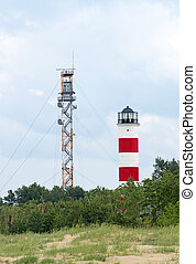 Military watch tower and lighthouse near border of Estonia and Russia.