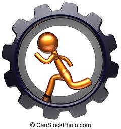 Man character gear wheel running work inside cogwheel