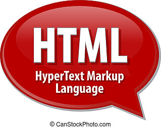 HTML acronym definition speech bubble illustration - Speech...