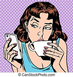 Tuesday girl looks at smartphone drinking tea or coffee....