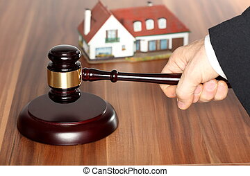 auction on table - auction with hammer on a wooden table