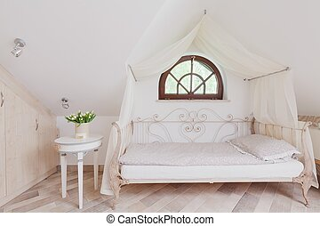 Stylish bed in romantic bedroom - Stylish bed with canopy in...