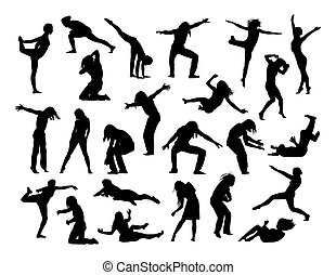 big set of people in action silhouettes 1 - big set of black...