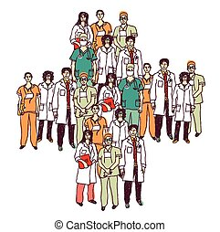 Medical symbol group doctors isolated color - Group of...