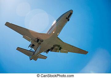 plane - a small private plane rises into the sky