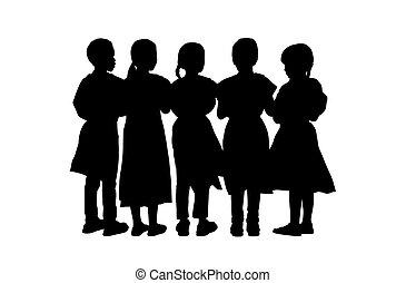 enfants, debout, silhouettes, ensemble, 9,