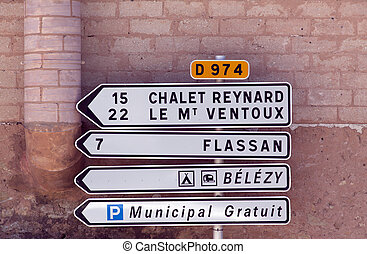 mont ventoux chalet reynard road sign - bedoin,france-june...
