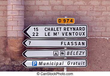 mont ventoux chalet reynard road sign - bedoin,france-june...