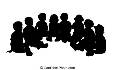 group of children seated in semi circle