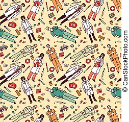 Medical people and objects seamless color pattern