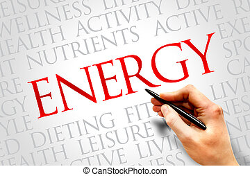 ENERGY word cloud, fitness, sport, health concept