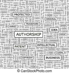 AUTHORSHIP. Seamless pattern. Word cloud illustration.