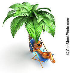Man character deck chair palm tree relaxing chilling beach