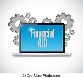 financial Aid computer laptop sign concept illustration...