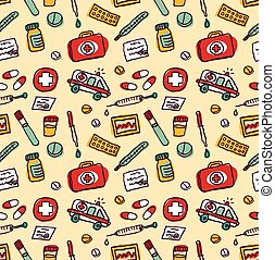 Wallpaper medical objects color seamless pattern