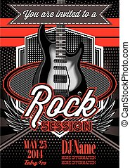 template for a rock concert with guitar - vector template...