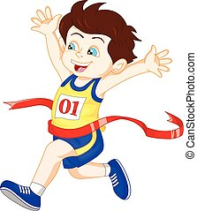 Boy ran to the finish line first - vector illustration of...