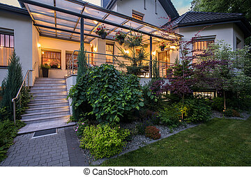 Luxury house with verandah and beauty garden