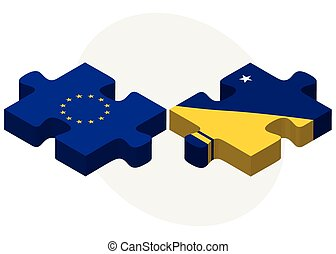 European Union and Tokelau Flags in puzzle isolated on white...